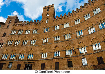 Piazza del Campo at Siena - Historical building in Piazza...