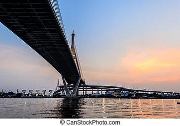 Bhumibol Bridge in the Evening