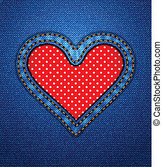 Jeans heart frame with polka dots