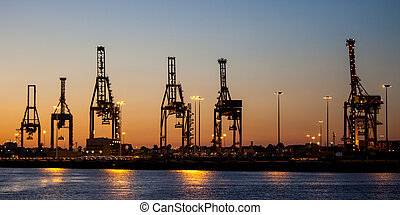 Cargo Cranes At Dusk - Cargo cranes in Melbourne's Docklands...