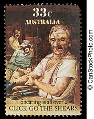 A stamp printed in Australia shows sheepshearing, Shearing...