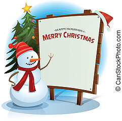 Christmas Snowman And Wood Sign Background - Illustration of...