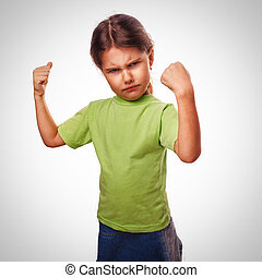 enojado, mal, niña, exposiciones, puños,...
