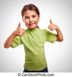 baby girl raised her thumbs up isolated smiling symbol indicates yes emotions gray