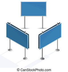 Blank blue road sign on white background isometric