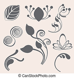 Swirl and floral vector elements in various styles for...
