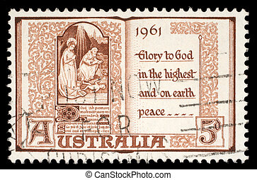 Australian postage stamp shows The Holy Virgin Mary and baby...