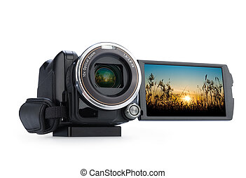 Digital video camera isolated on white background.