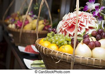 set of fruits in basket