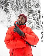 hiver, neigeux, complet, asie, gai, Américain, noir, homme,...