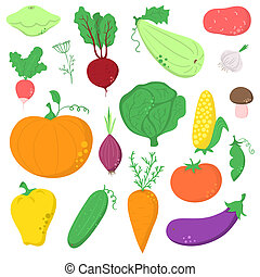 Set of vegetables - Set of hand-drawn vegetables, without...