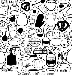 Vector kitchen seamless pattern - Black-white vector kitchen...