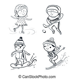 Winter sports, vector sketch sportsmen - Winter sports,...
