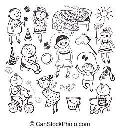 Children play with toys - Black-white sketch children...