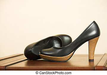 Black Highheel shoes - Black leather high heeled shoes on a...