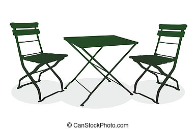garden - illustration of simple seating with table and two...