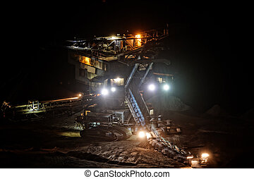 Mine machine - Coal mining in an open pit - evening photo