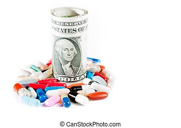 colorful pills near rolled up dollars on white background