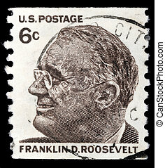 A stamp printed in United states (USA), image of portrait...