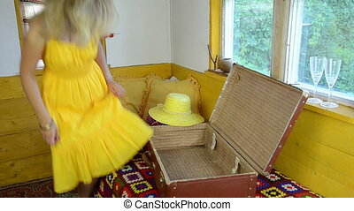blouses suitcase woman - young woman with summer dress put...
