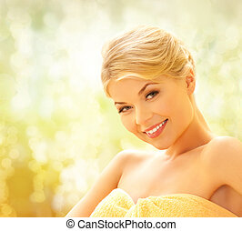 beautiful woman in spa salon - spa and beauty concept -...