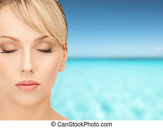 beautiful woman with blonde hair - health, spa, beauty and...
