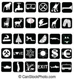 集合, 插圖, 矢量, 黑色, 白色, 圖象