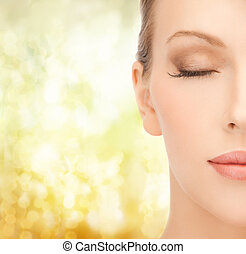 face of beautiful woman - health, spa and beauty concept -...