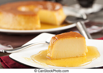 Pudim, a delicious brazilian dessert, made from condensed...