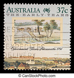 Stamp printed in Australia shows the Government Farm,...