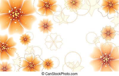 Orange flowers design - Elegant floral background with...