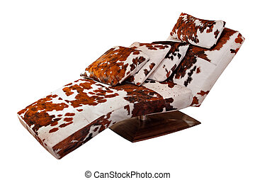 Chaise longue - Cowhide chaise lounge isolated included...