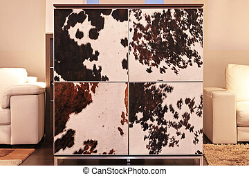 Cowhide cabinet - Contemporary square cabinet with cowhide...