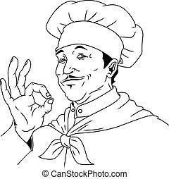 hand drawn chef illustration
