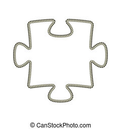 puzzle piece - The puzzle piece made out of rope