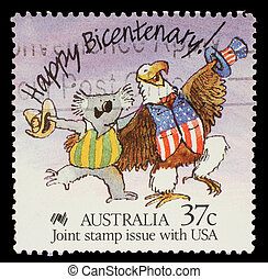 A stamp printed in Australia shows Happy Bicentenary!...