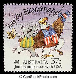 Un, estampilla, impreso, Australia, exposiciones, feliz,...