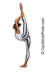 Vertical splits Latina dancer girl, isolated