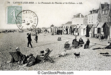 old postcard of Cayeux, Walk boards and cabins...