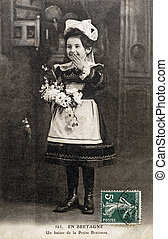 old postcard of Britany, a kiss from the little Breton...