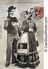 old postcard of Quimper, married...