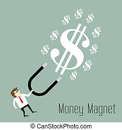 Businessman attracts money with a large magnet