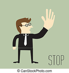 Businessman making stop sign using hand up
