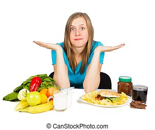 Food Contrast - Woman in hard situation, choosing between...