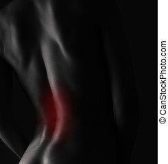 dolor, mujer, espalda, cuerpo, negro, blanco, Primer plano