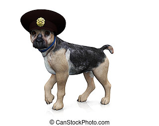 Police dog - A german shepherd dog with a police hat on his...