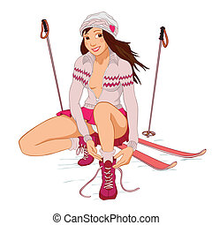 Beautiful pin-up girl with skis tying shoelaces isolated on...
