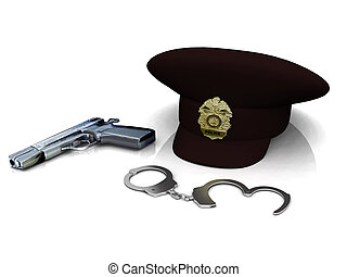 Police hat, gun and handcuffs - A police hat, gun and...