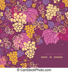 Sweet grape vines corner frame pattern background