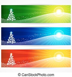 Abstract christmas banners for your design header.